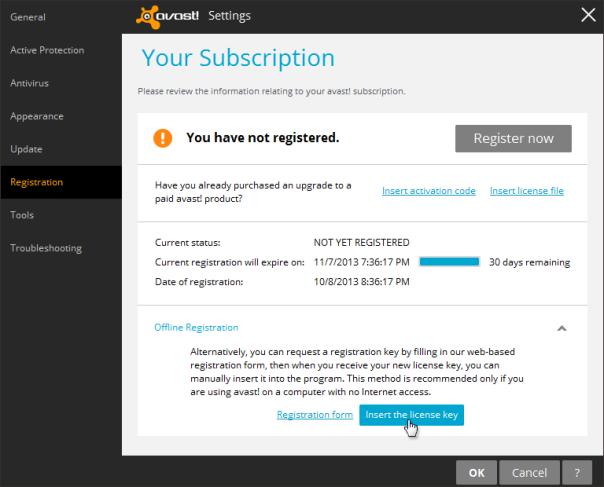 avast registration key paid license